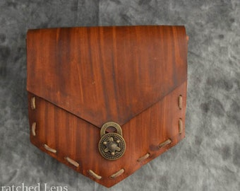 Woodgrain Pattern Leather Belt Pouch
