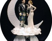 SCOTTISH Groom , Pretty bride Wedding Cake Topper