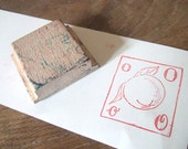 French Orange Rubber Stamp letter O Vintage French Fruit
