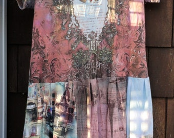 Pretty Pastel Angel Gypsy Hippy Boho T Shirt Dress Tattered Mosaic Sz L - XL