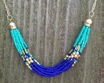 Gorgeous aqua navy and gold beaded necklace