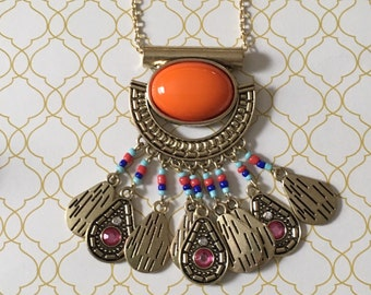 Gorgeous orange tribal necklace