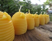 Set of 15 Beeswax Candles- Hive shaped with bee, votive size