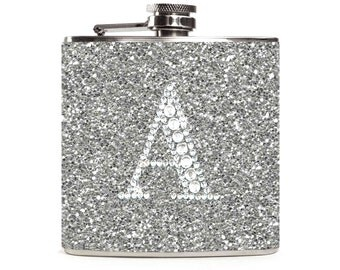 Silver Glitter Flask with Personalized Rhinestone Initial, Sparkle Glitter Flask for Women, 6oz Stainless Steel Hip Flask