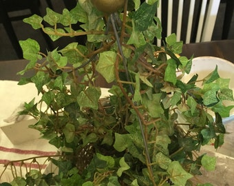 Silk ivy topiary, wicker basket topiary