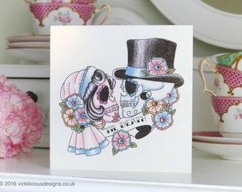 Til Death sugar skull bride & groom tattoo day of the dead Valentine's Day handmade card