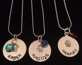 Handstamped Mother/Grandmother Charm with birthstone