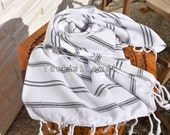 Turkishtowel-Soft-Hand woven,warp&weft cotton Hand,Tea,DishTowel-Twill pattern,Black stripes on White