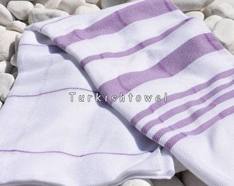 Turkishtowel-Soft-Hand woven,warp&weft cotton Bath,Beach Towel-Point twill pattern,Purple stripes on the White