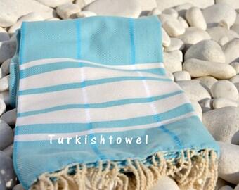 Turkishtowel-Soft-Hand woven,warp&weft cotton Bath,Beach,Travel Towel-Point twill pattern,Cream stripes on Turquoise