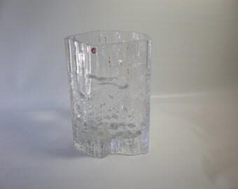 Tapio Wirkkala Clear Ice Textured Glass Vase by Iittala Finland 1070's