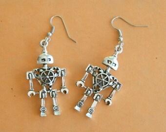 The ROBOT Earrings...silver. antique silver charm. robot earrings. retro. kitsch. dapper. urban. hipster. hippie. robotic. metal. costume