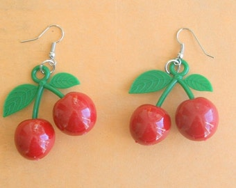 The CHERRY EARRINGS...kitsch. retro. fruit. earrings. beads. jewelry. cherries. kitschy charms. berries. cookout. kawaii. fruit earrings