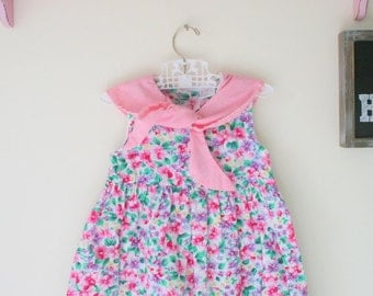 Vintage FLOWER GARDEN Dress.....size 6 girls.....children. toddler. flower garden. ruffled. summer. flower girl. 1980s dress. shabby. mod