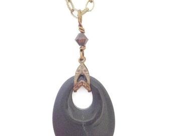 """RETIRING SOON Black Stone """"Go-Go"""" Pendant and Bronze Necklace NE1969"""