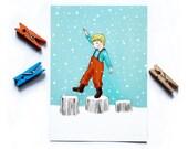 Cute Postcard - Children's Wall Art Print - Kids Decor - Wall Art Illustration - Boy's nursery - Boy on the logs  - 4.1 x 5.8 in