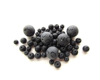 Black Frosted Round Beads / Etched Beads