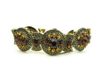 1960s Topaz Rhinestone Large Bracelet