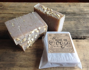 2 Bars of Handmade olive oil soap, vegan - you choose scents
