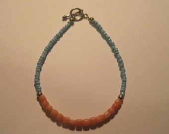 Genuine Peach Coral and Turquoise Color Seed Bead Bracelet