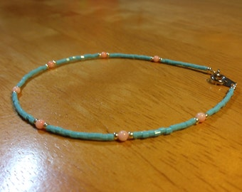 Pink Coral and Turquoise Color Bead Anklet