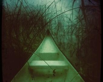 Boat Canoe Lake Summer Sweden Grasses Water Art Photograph Print