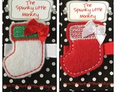 Christmas Stocking with Bow Embroidered Felt Clip by The Spunky Little Monkey