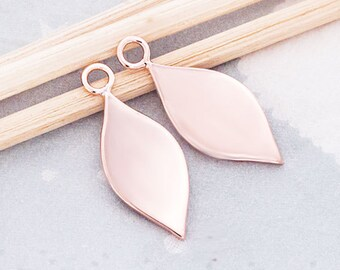 2 of 925 Sterling Silver Rose Gold  Vermeil Style Drop Charms 8x16 mm. , Polish Finished  :pg0240