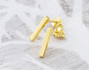 1 Pair of 925 Sterling Silver 24K Gold Vermeil Style Rectangle Stick Stud Earrings. 2x12 mm. :vm0794
