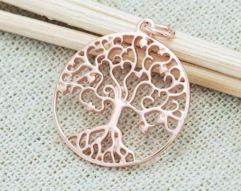 1 of 925 Sterling Silver Rose Gold Vermeil Style Tree of Life Pendant 20 mm. :pg0005