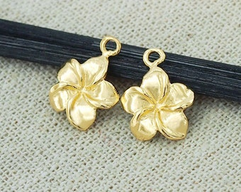 2 of 925 Sterling Silver 24k Gold Vermeil Style Plumeria flower Charms 11 mm. :vm0540