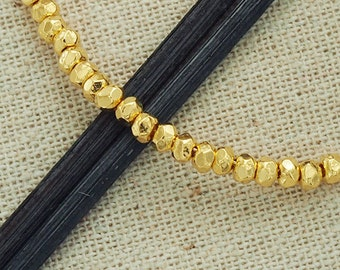30 of Karen Hill Tribe 24K Gold Vermeil Style Facet Rondelle Beads 3x2 mm.  :vm0012
