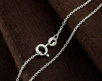 18 inches of 925 Sterling Silver Fine Cable Chain Necklace , 1x1.5 mm. Delicate Chain  :th2352-18
