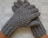 Hand knitted warm men gloves (naturally gray color)