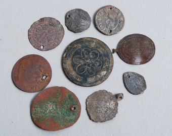 Set of 9 Antique metal parts of jewelry, plates, charms, dark patina