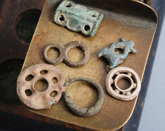 Set of 6 Antique metal parts of jewelry, plates, charms, dark patina