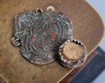 Antique metal, pendant, connector, finding, dark patina
