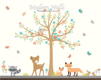 Nursery Wall Decal, Kids Wall Decals, Tree with Flowers, Woodland Forest Wall Stickers-Children Wall Art-Fox Decal-Bunny Decals-Tree Decal