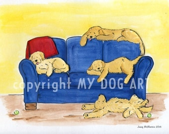 Golden Retriever There's no place like home print 4 goldens