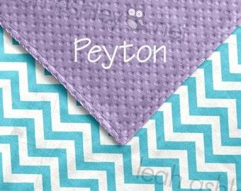 Baby Blanket - Turquoise Chevron MINKY, Lavender MINKY Dot - Piper - BB1