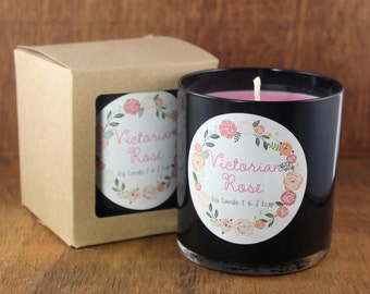 Rose Soy Candle, Black Glass Container, 12 OZ 100% Natural Soy Victorian Rose