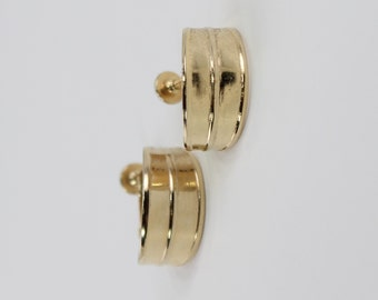 Vintage Goldtone Double Two Parallel Polished Glossy Gold Tone Hoop Traditional Clip On Earrings