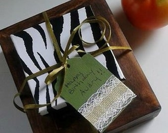 Vintage Burlap and Lace Gift Tag Set of 3