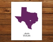 Texas State Love Map Silhouette 8x10 Print - Customized