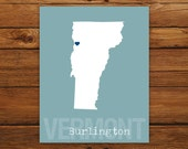 Custom Vermont, Personalized State Print, State Love, State Map, Country, Heart, Silhouette, 8 x 10 Wall Art Print