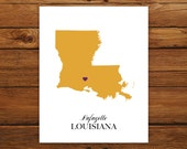 Custom Louisiana, Personalized State Art, State Print, State Love, State Map, Country, Heart, Silhouette, 8 x 10 Wall Art Print