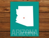Custom Arizona, Personalized State Print, State Love, State Map, Country, Heart, Silhouette, 8 x 10 Wall Art Print