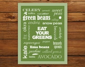 Kitchen Art Eat Your Greens Poster - Zucchini Green Typography