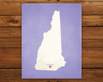 Customized New Hampshire 8 x 10 State Art Print, State Map, Heart, Silhouette, Aged-Look Print