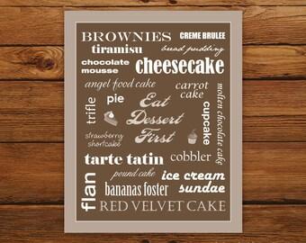 Kitchen Art Eat Dessert First Print - Coffee Typography